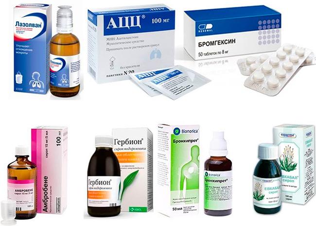 При сухом кашле необходимо добиться выведения мокроты, для этого назначают отхаркивающие и муколитические лекарства, также возможно назначение препаратов, оказывающих комплексное воздействие