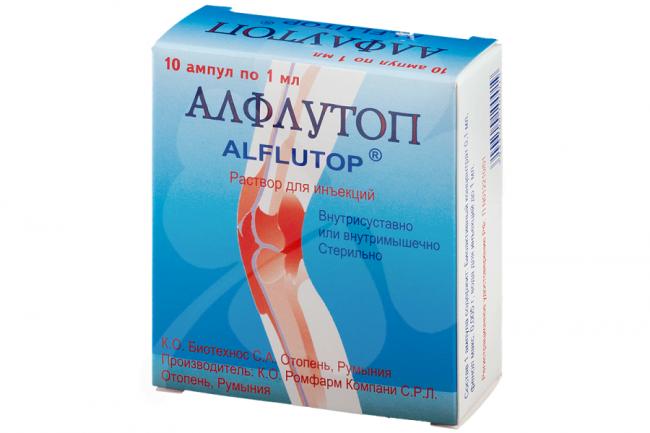 Алфлутоп – хондропротекторное средство. Оно регулирует обмен веществ в хрящевой ткани
