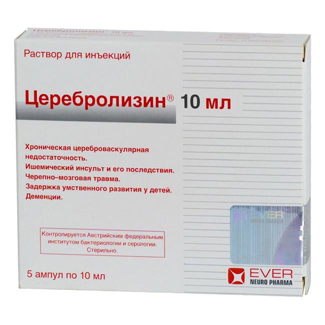 Церебролизин улучшает кровообращение сосудов головного мозга, стимулирует дофаминовые рецепторы центральной нервной системы