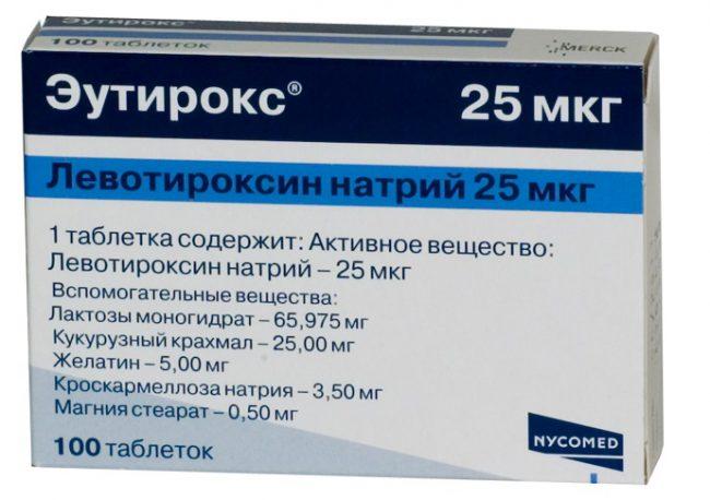 Врач может назначить пациенту приём синтетических аналогов тироидного гормона, к ним относится препарат Эутирокс