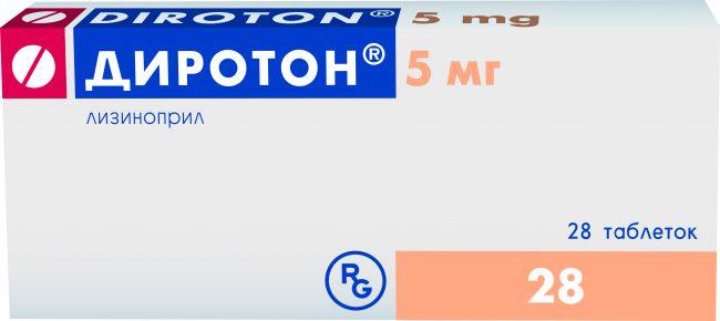 Препарат Диротон вызывает снижение уровня альдостерона и ангиотензина II в плазме крови, одновременно увеличивая концентрацию вазодилататора брадикинина