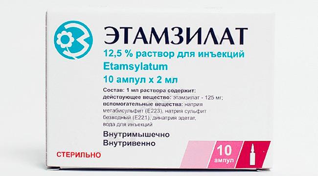 Этамзилат назначается при любых видах кровотечений, не вызывает резкой свёртываемости крови, благодаря чему не происходит образование тромбов