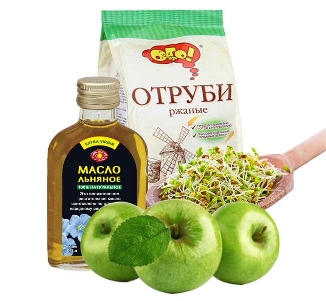 Оливковое или льняное масло, отруби, зеленые яблоки, пророщенные зерна, помогут облегчить состояние пациенту