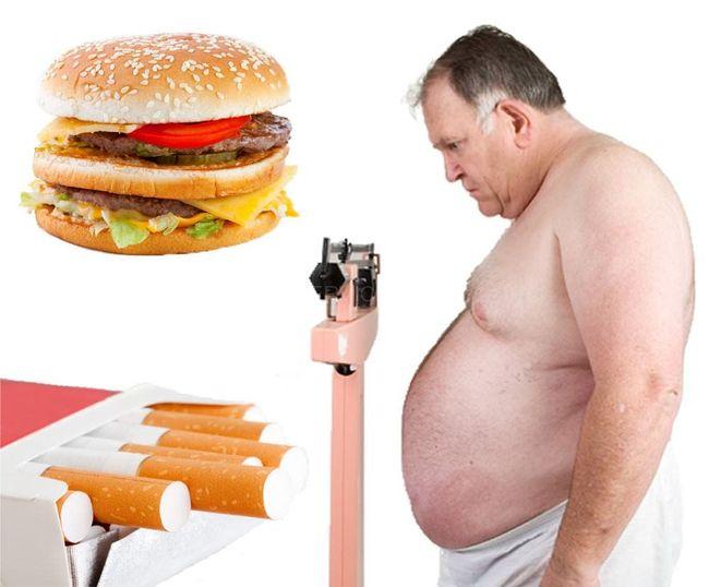 Одни из причин гипертонии - употребление вредной пищи и курение