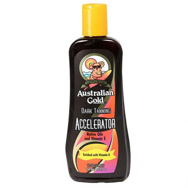 Топ-список лучших средств возглавляет лосьон Australian Gold Dark Tanning Accelerator, который предназначен для усиления загара на солнце или в солярии
