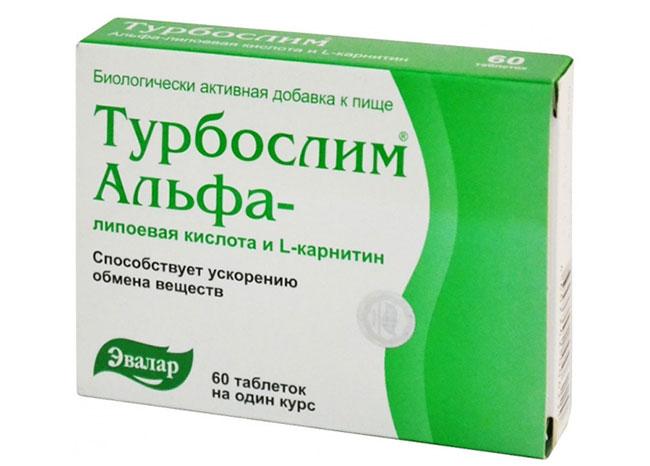 Сочетание Альфа-липоевой кислоты и L-карнитина в препарате «Турбослим Альфа» активизирует обменные процессы в организме, способствует расщеплению жиров и углеводов и переработке их в энергию