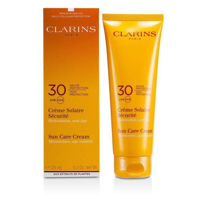 Популярным средством для безопасного загара является крем Clarins Sunscreen Care Cream SPF-30