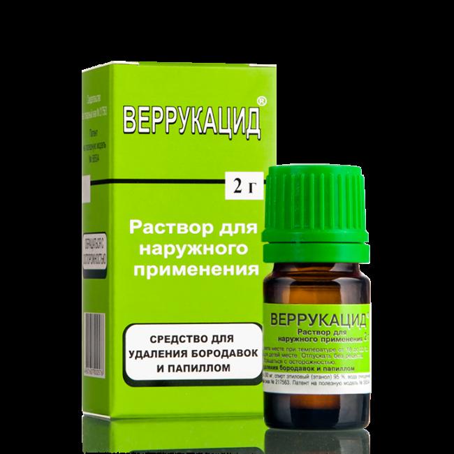 Веррукацид предназначен для удаления доброкачественных опухолей на коже и обладает прижигающим действием.