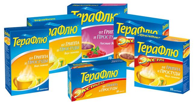 Порошок - наиболее популярная форма Терафлю, средство выпускают со вкусом лесной ягоды или лимона (Терафлю Экстра)