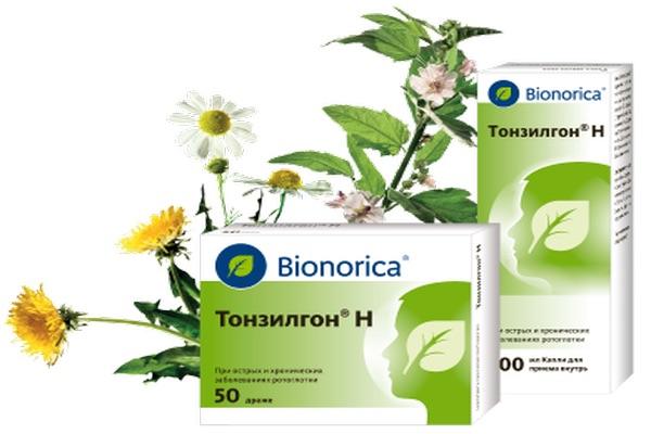 Препарат Тонзилгон выполнен на основе лекарственных растений. Содержит вытяжки из травы одуванчика лекарственного, коры дуба, листьев грецкого ореха, травы хвоща и тысячелистника, цветов ромашки аптечной, корня алтея