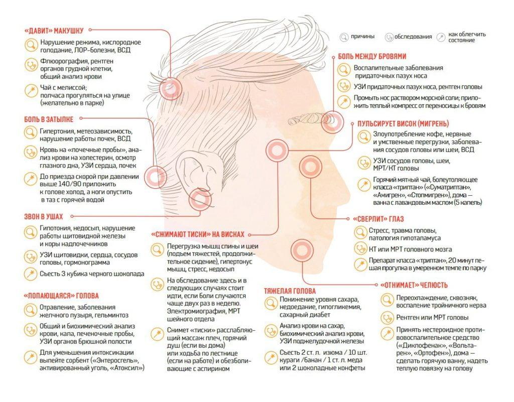 На фото показана инфографика локализации головной боли в разных местах головы и возможные заболевания.