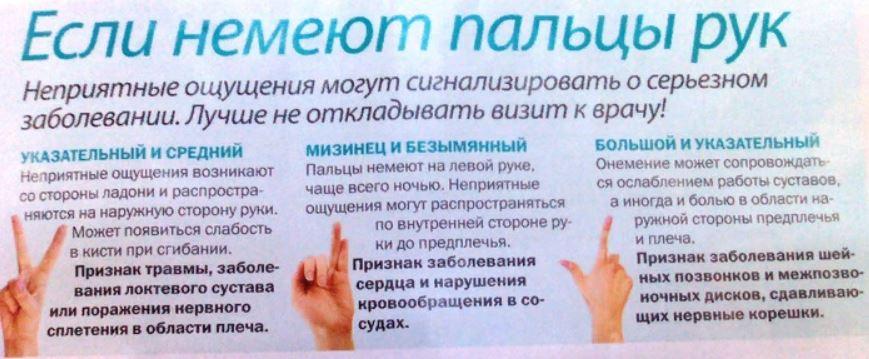 На фото памятка причин и признаков по пальцам, если немеют пальцы рук.