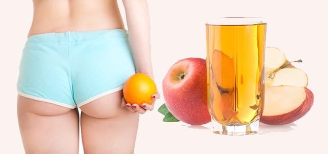 Уксус из яблок показывает очень хороший эффект в борьбе с целлюлитом