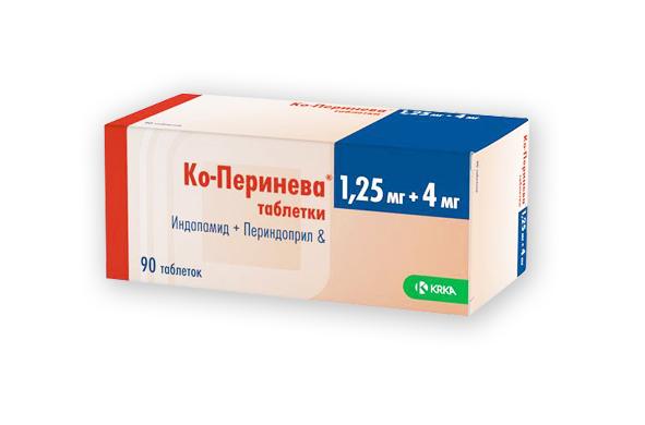 Таблетки Ко-Перинева 1,25 мг + 4 мг, Индопомид + Периндоприл, оказывают кардиопротекторное и сосудорасширяющее действие. Постоянное применение препарата уменьшает выраженность гипертрофических деформаций сердечной мышцы
