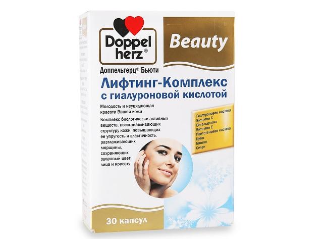 Doppelherz Лифтинг-Комплекс - немецкий препарат, оказывает противовоспалительное действие, улучшает состояние кожи