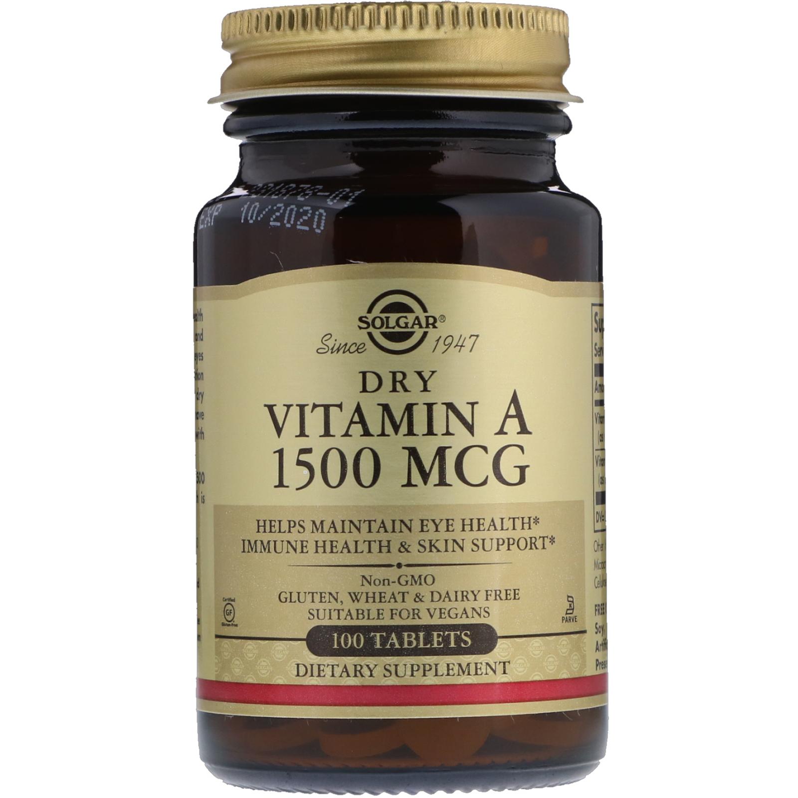 На фото сухой витамин A от Solgar. 100 таблеток по 1500 миллиграмм ретинола.