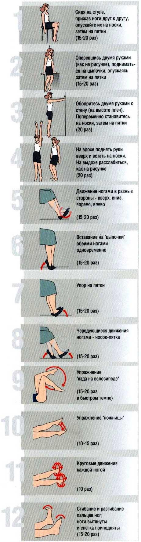 Фото с 12-ю универсальными упражнениями при варикозе ног, которые можно выполнять в положении стоя, сидя и лёжа.