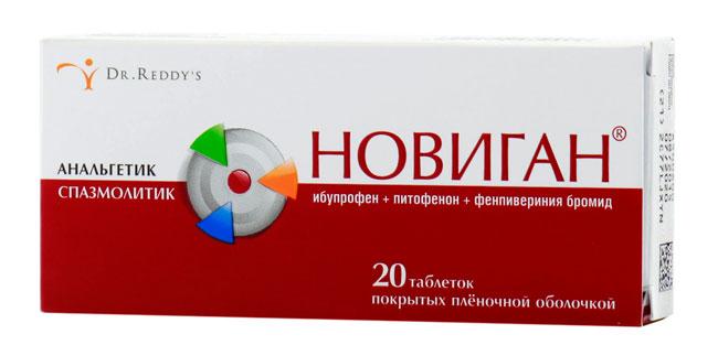 В состав Новигана входят: ибупрофен, гидрохлорид питофенона и фенпивериния бромид, что позволяет ему воздействовать комплексно, снимая воспаление и боль
