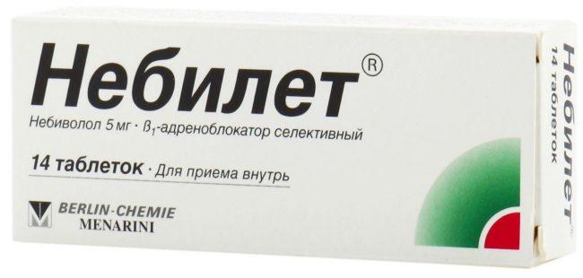 Препарат Небилет сочетает в себе два фармакологических свойства: он является селективным и конкурентным блокатором β1-адренорецепторов, а также обладает мягким вазодилататорным эффектом