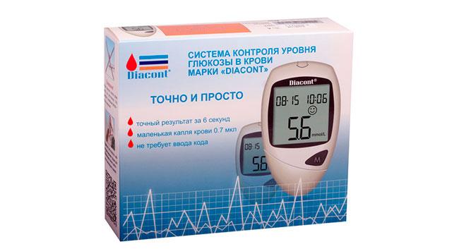 В глюкометре Diacont реализован электрохимический анализ, при котором кровь вступает в реакцию с белком, после чего на экране выдаются итоговые цифры замера - это позволяет возможные погрешности свести к минимуму