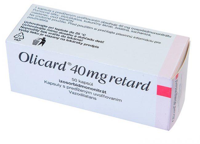 Оликард уменьшает потребность миокарда в кислороде за счет снижения преднагрузки и постнагрузки (уменьшает КДО ЛЖ и снижает систолическое напряжение его стенок). Обладает коронарорасширяющим действием