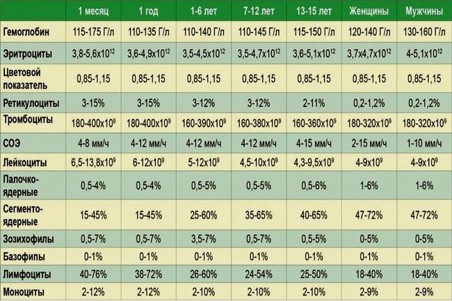Таблица нормы показателей крови для разных возрастных групп, мужчин и женщин