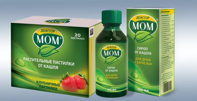 Компания Доктор Мом, кроме мази, выпускает сироп и пастилки, от мази они отличаются составом и применяются при сухом кашле и першении