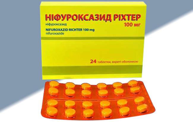 Нифуроксазид выпускают в форме двояковыпуклых таблеток желтого цвета, с желатиновой оболочкой, таблетки фасуются в блистеры по 24 шт. в каждом
