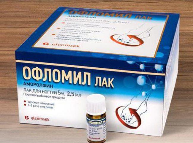 В основе Офломил лак - аморолфин гидрохлорид, который имеет фунгицидное и фунгистатическое действие. Его содержание в препарате чуть больше 50%