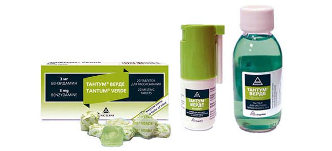 Препарат Тантум Верде, кроме спрея, выпускают в форме таблеток и раствора