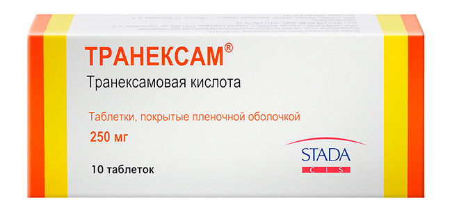 Основное активное вещество в таблетках Транексам – транексамовая кислота, которая за счет своего специфического действия на элементы свертывающей системы крови, увеличивает ее вязкость и, делая более густой, затрудняет дальнейшее вытекание из сосудов