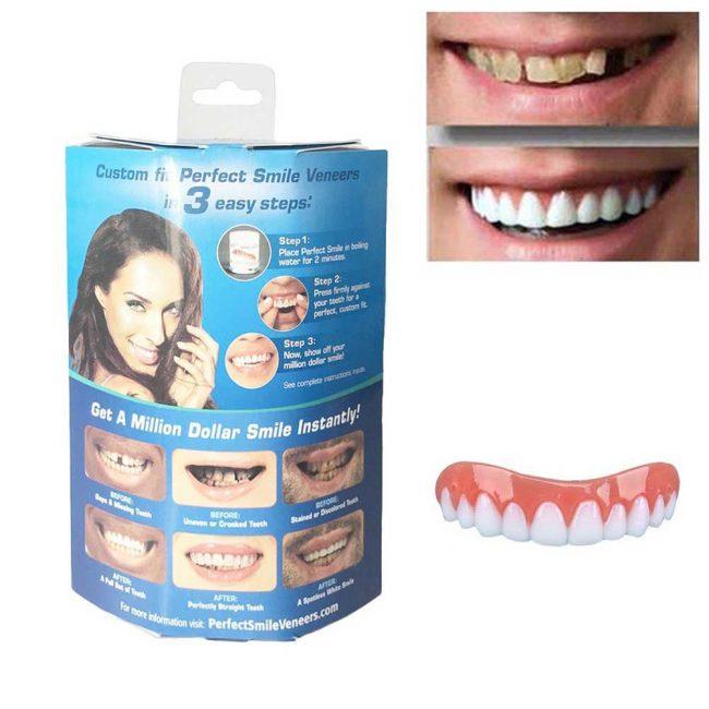 В состав Perfect Smile Vaneers от сколов на зубах и прочих недостатков входит надежный фиксатор и гипоаллергенная силиконовая смесь, создающая мягкое покрытие на зубах