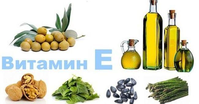 Продукты, в которых есть витамин Е (токоферол)